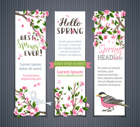 Vector set of vertical spring banners. Pink cherry blossoms, leaves and birds on tree branches. Hello spring! Its spring time. There is place for your text on white background.