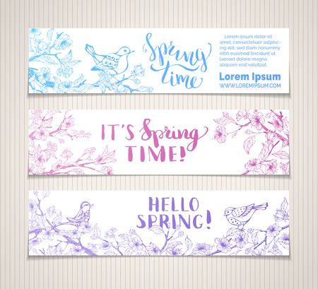 Vector set of horizontal spring banners. Sakura blossoms, leaves and birds on tree branches. Bright contour illustration. Spring time. Hello spring! There is place for your text on white background.