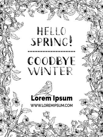black borders: Hello spring! Goodbye winter! Spring blossoms on tree branches. Handwritten grunge brush lettering. Colouring book template. You can place your text. Illustration