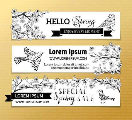 arbol de cerezo: Vector set of horizontal spring banners. Cherry blossoms, leaves and birds on tree branches. Black and white outlined illustration. Hello spring! Special spring sale. Vectores