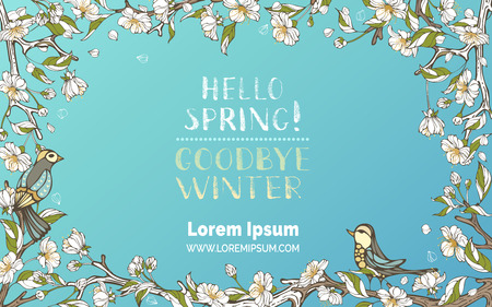 Vector spring floral frame. Blossoms, leaves and birds on tree branches. Falling petals. Hand-written brush lettering. There is place for your text in the center.