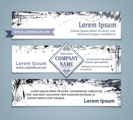 Horizontal banners set. Grey and blue hand-drawn ink stains, flourishes and blots. There is place for your text on white area. Ilustração