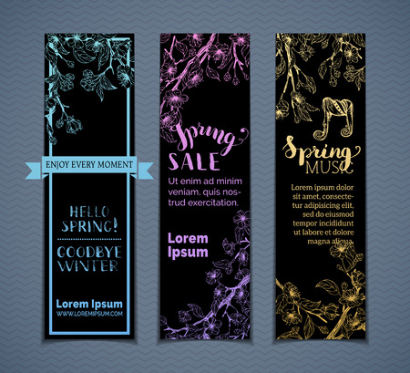 Vector set of vertical spring banners. Spring blossoms and leaves on tree branches. Bright colourful contours on black background. Spring sale. Hello spring. Spring music. There is place for text. Çizim