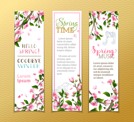Vector set of vertical spring banners. Pink sakura flowers, leaves and bird contours on tree branches. Hello spring! Goodbye winter! Spring time. Spring music. There is place for your text. Illustration