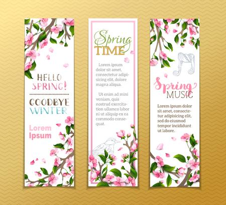 Vector Reihe von vertikalen Federfahnen. Rosa Sakura-Blüten, Blätter und Vogel Konturen auf Ästen. Hallo Frühling! Winter ade! Frühlingszeit. Frühlings-Musik. Es gibt Platz für Ihren Text.