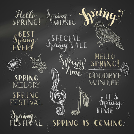 spring festival: Hand-drawn spring lettering. Hello spring. Goodbye winter. Its spring time. Best spring ever. Special spring sale. Spring festival. Spring is coming.