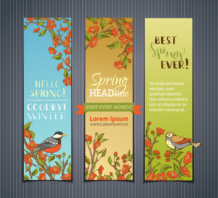 Vector set of vertical spring banners. Red flowers, leaves and birds on tree branches. Hello spring! Goodbye winter! Best spring ever! There is place for your text. Çizim