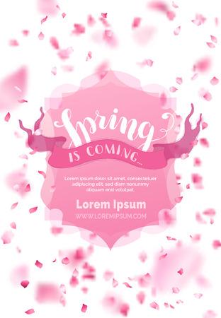 Der Frühling kommt. Viele rosa Blüten auf weißem Hintergrund. Rosa Abzeichen und Band. Natur vertikale Kulisse. Es gibt Platz für Ihren Text in der Mitte. Vektorgrafik