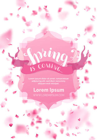 Spring is coming. A lot of pink petals on white background. Pink badge and ribbon. Nature vertical backdrop. There is place for your text in the center.