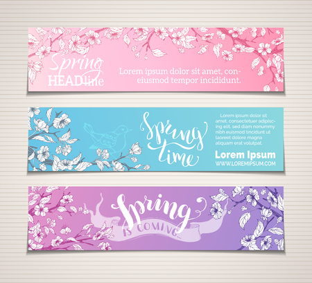Vector set of horizontal spring banners. Sakura blossoms, leaves and birds on tree branches. Spring time. Spring is coming. There is place for your text. Bright illustration.