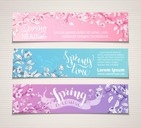 Vector Reihe von horizontalen Frühjahr Banner. Sakura-Blüten, Blätter und Vögel auf Ästen. Frühlingszeit. Der Frühling kommt. Es gibt Platz für Ihren Text. Helle Abbildung.