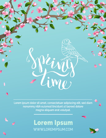 Spring time. Blossoms and leaves on tree branches. Falling petals. Bird contour. Hand-written brush lettering. There is place for your text in the sky. Ilustração