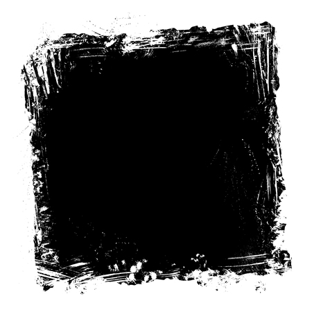 Square frame of hand-drawn white stains, flourishes and blots on blackboard background. There is place for your text on black area.