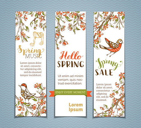 Vector set of vertical spring banners. Red flowers, leaves and birds on tree branches. Spring music. Hello spring. Spring sale. There is place for your text on white background.