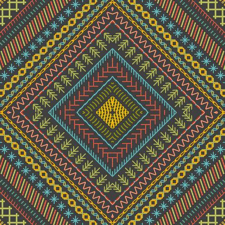 bordados: sin fisuras patrón de bordado tribal vector. Vector altos puntos detallados. Textura ilimitada étnica. Se puede utilizar para fondos de páginas web, papeles pintados, papeles de envolver e invitaciones.