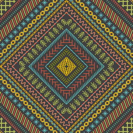 boundless: Vector seamless tribal embroidery pattern. Vector high detailed stitches. Ethnic boundless texture. Can be used for web page backgrounds, wallpapers, wrapping papers and invitations. Illustration