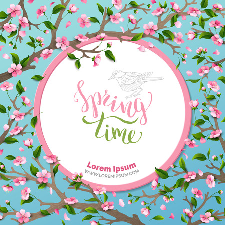 Spring time.  Spring flowers and leaves on tree. Round frame. Handwritten brush lettering. Vector card template. You can place your text in the center on white background.