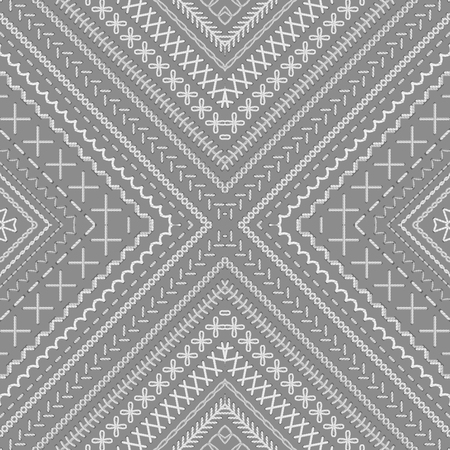 boundless: Vector seamless tribal embroidery pattern. Vector high detailed stitches. Embroidery boundless texture. Can be used for web page backgrounds, wallpapers, wrapping papers and invitations.
