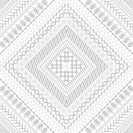 boundless: Seamless embroidery pattern. High detailed white stitches. Ethnic boundless texture. Can be used for web page backgrounds, wallpapers, wrapping papers and invitations. Illustration