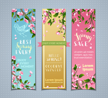 Vector set of vertical spring banners. Pink cherry blossoms, leaves and birds on tree branches. Hello spring! Goodbye winter! Best spring ever! Spring sale. There is place for your text. Illustration