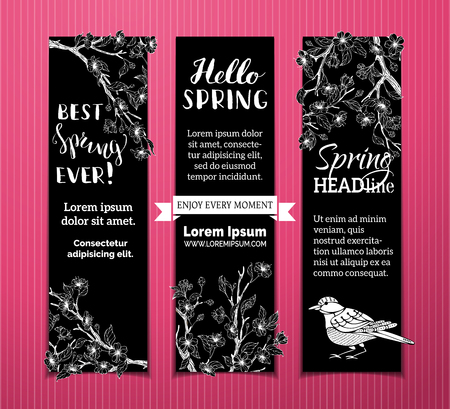 Vector set of vertical spring banners. Chalk cherry blossoms, leaves, birds and tree branches on blackboard background. Best spring ever! Hello spring! There is place for your text.