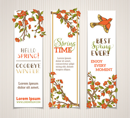 outdoor wedding: Vector set of vertical spring banners. Red flowers, leaves and birds on tree branches. Hello spring. Goodbye winter! Spring time. Best spring ever! There is place for your text on white background.