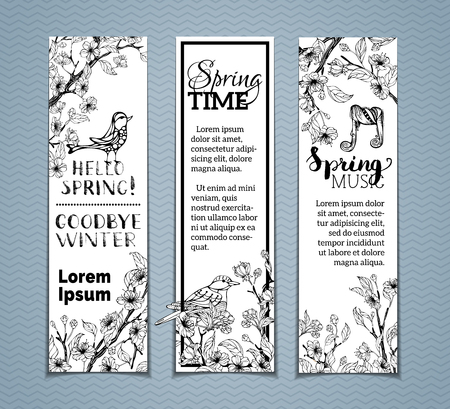 birds in a tree: Vector set of vertical spring banners. Sakura blossoms, leaves and birds on tree branches. Black and white outlined illustration. Hello spring! Spring time. Spring music.