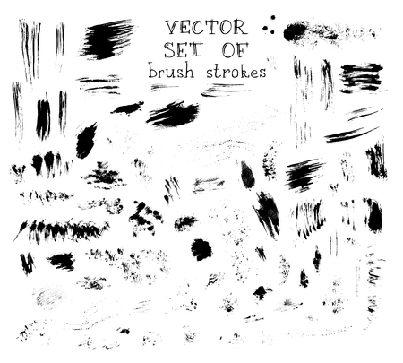 Various hand-drawn brush strokes isolated on white background.