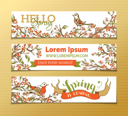 birds in tree: Vector set of horizontal spring banners. Red flowers, leaves and birds on tree branches. Hello spring. Spring is coming. There is place for your text on white background. Illustration
