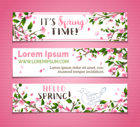 Vector set of horizontal spring banners. Pink sakura blossoms, leaves and bird contours on tree branches. Hello spring! It's spring time! There is place for your text on white background.