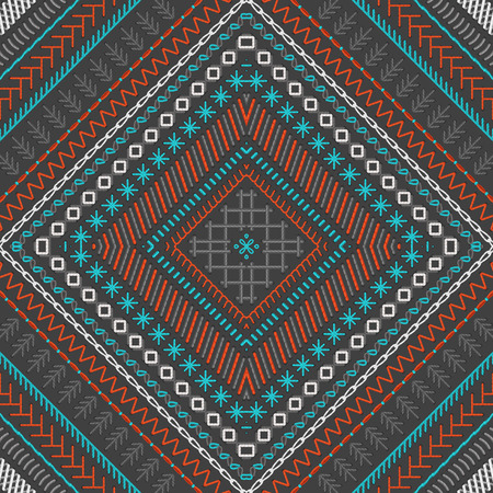 boundless: Vector seamless tribal embroidery pattern. Red, blue, grey and white. High detailed stitches. Ethnic boundless texture. Can be used for web page backgrounds, wallpapers, wrapping papers and invitations.
