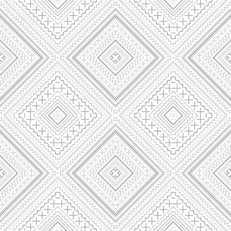 grey backgrounds: Seamless ethnic pattern. Vector high detailed white stitches. Ethnic boundless texture. Red, blue, grey and white. Can be used for web page backgrounds, wallpapers, wrapping papers and invitations. Illustration