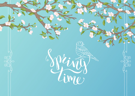 time frame: Spring time. Blossoms and leaves on tree branches. Calligraphic frame. Hand-written brush lettering. There is place for your text in the sky.