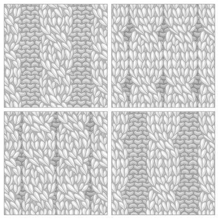 cables: Seamless knitting pattern. Twisting to the left cables. Vector rope cables. High detailed stitches. Boundless background can be used for web page backgrounds, invitations.