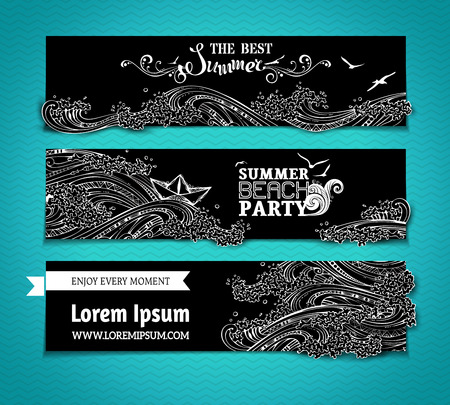 background summer: Vector set of chalk seaocean horizontal banners. Starfish, palms, seagulls and waves. The best summer. Summer beach party. There is place for your text on blackboard background.