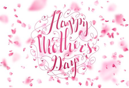 Buona festa della mamma! Scritte a mano. Petali di ciliegio vettoriale cadono. Un sacco di petali di rosa su sfondo bianco. Natura sfondo orizzontale.