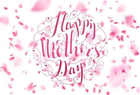 Happy Mother's Day! Hand-written lettering. Vector cherry petals fall down. A lot of pink petals on white background. Nature horizontal backdrop.