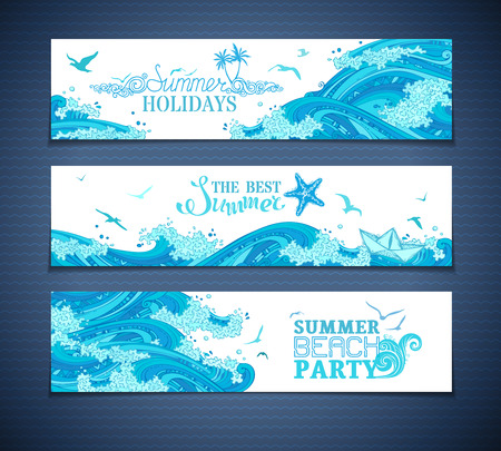 Vector set of seaocean horizontal banners. Bright hand-drawn illustration. Summer beach party. The best summer. Summer holidays. There is place for your text on white background.