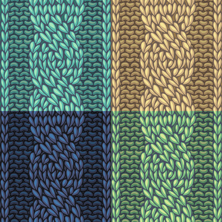 cable stitch: Seamless knitting pattern. Vector left-twisting rope cable (C6F) seamless pattern. Knitting texture. Boundless background can be used for web page backgrounds. Illustration