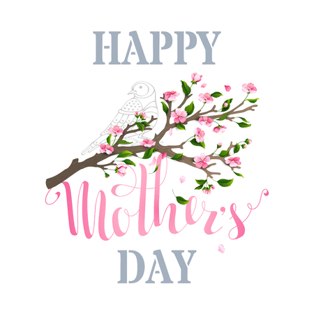 blooms: Happy Mothers Day! Vector typographical background with spring cherry blooms and leaves isolated on white background. Falling petals.