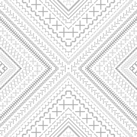 boundless: High detailed grey and white stitches. Ethnic boundless texture. Can be used for web page backgrounds, wallpapers, wrapping papers and invitations. Illustration