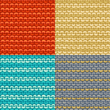 knitting: Seamless knitted pattern. Vector illustration. Stockinette stitch, reverse side. Vector high detailed stitches. Knitted jersey background. Wool hand-knitted pattern.