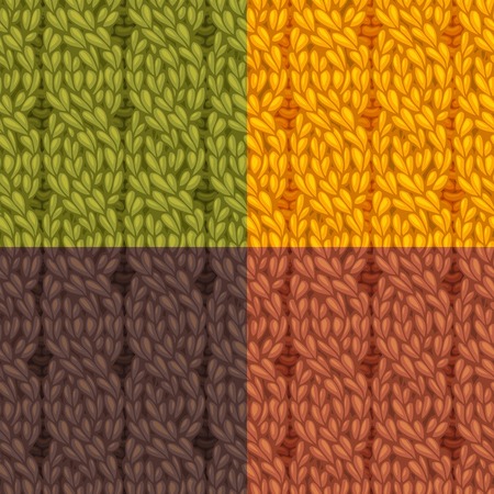 twisting: Seamless knitting pattern. Four-stitch cables, twisting to the left. C4F. Vector colourful knitting texture. High detailed stitches. Can be used for web page backgrounds and wallpapers