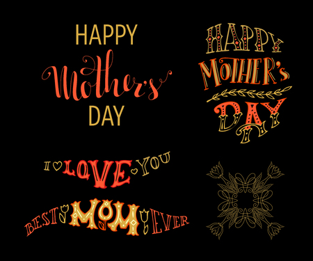 tshirt designs: Happy Mothers Day! Best Mom ever. I love you! Vector typographical design elements isolated on black background. Hand-drawn doodles lettering for cards, invitations, T-shirt designs and posters.