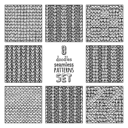 Vector set of seamless doodles knitting patterns. Stockinette stitch. Basic knitting stitch. Garter stitch. Plain stitch. Basket weave Stitch. Box Stitch. Ribbing Stitch. Double Ribbing Stitch. Ilustracja