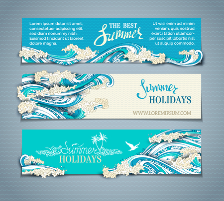 Vector set of sea/ocean horizontal banners. Paper ship, starfish, seagulls and waves. Summer holidays. The best summer. Hand-drawn illustration. There is place for your text on coloured background.  イラスト・ベクター素材