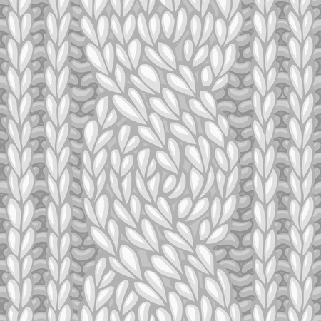 cable stitch: Seamless knitted pattern. Vector left-twisting rope cable (C6F) knitting pattern. Vector high detailed stitches. Boundless background can be used for web page backgrounds, wrapping papers.