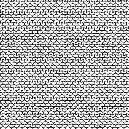 reverse: Vector seamless knitted pattern. Stockinette stitch, reverse side. Black and white hand-drawn doodles. Boundless background can be used for web page backgrounds, wallpapers, invitations. Illustration