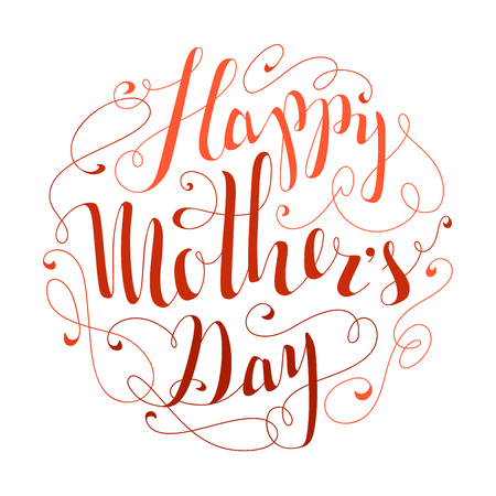 tshirt designs: Happy Mothers Day! Hand-written calligraphic phrase for your poster, postcard or T-shirt designs. Vector template.