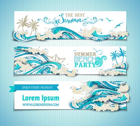 Vector conjunto de banners horizontales mat / océano. ilustración brillante dibujado a mano. El mejor verano. fiesta en la playa de verano. No hay lugar para el texto sobre fondo blanco. Gaviotas, palmeras, barco de papel y las olas. Ilustración de vector